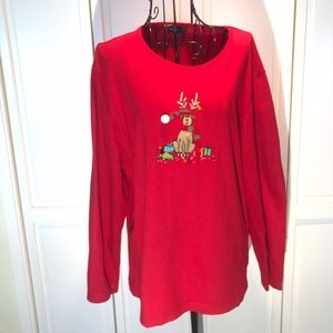 Christmas Red Long Sleeve Reindeer & Presents XL